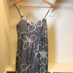 Esprit grey dress with white flower prints.
